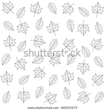 maple  and oak leaves on white background - stock vector