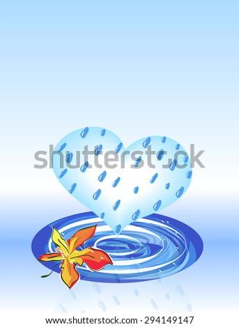 Maple leaf and Rain Cloud as Heart. Vector EPS 10 - stock vector