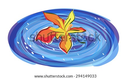 Maple leaf and Rain Puddle - stock vector