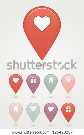 Mapping pins icon web 2.0 buttons. - stock vector