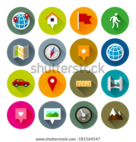 Maps and navigation icons. Professional vector flat and long shadow icons for your website, application and presentation. - stock vector