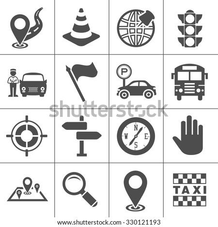 Maps, location, navigation and transportation icons set - stock vector