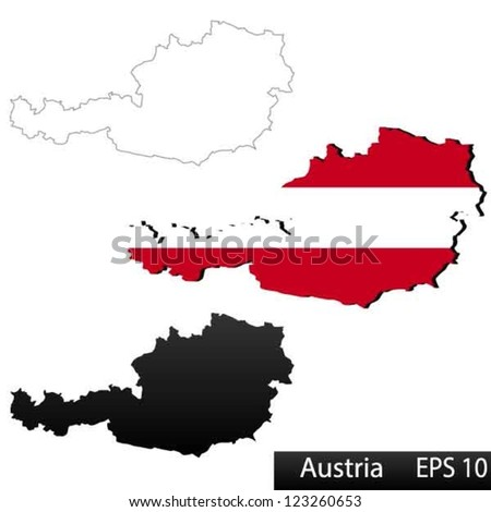 Maps of Austria, 3 dimensional with flag clipped inside borders,and shadow, and black and white contours of country shape, vector - stock vector