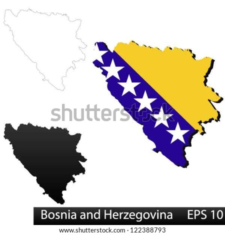 Maps of Bosnia and Herzegovina, 3 dimensional with flag clipped inside borders,and shadow, and black and white contours of country shape, vector - stock vector