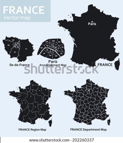Maps of France with its departments and regions and Paris with its districts - stock vector