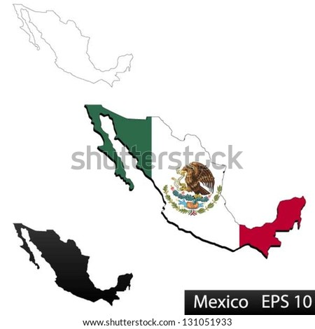Maps of Mexico, 3 dimensional with flag clipped inside borders,and shadow, and black and white contours of country shape, vector - stock vector