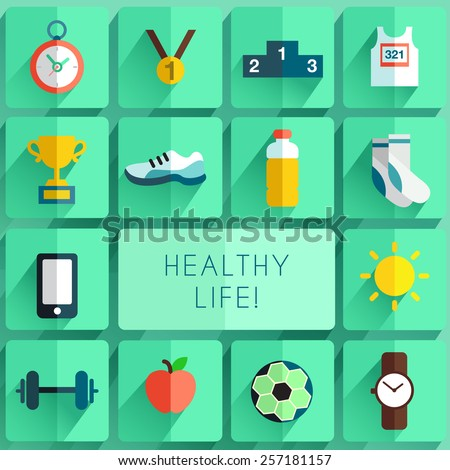 Marathon Item :Flat Icon set - stock vector