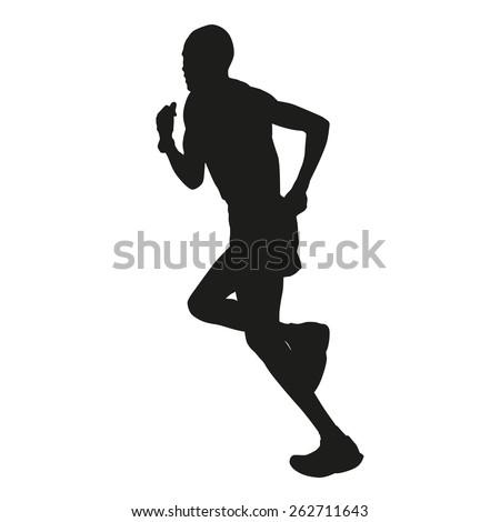 Marathon runner silhouette - stock vector