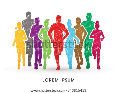 Marathon Runners, designed using colorful grunge brush  graphic vector. - stock vector
