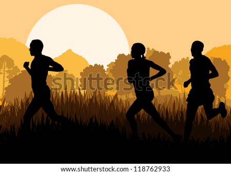 Marathon runners in wild forest nature mountain landscape background illustration vector - stock vector