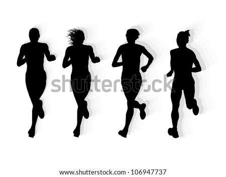 Marathon runners vector background - stock vector