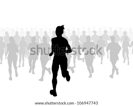 Marathon runners vector background with leader - stock vector