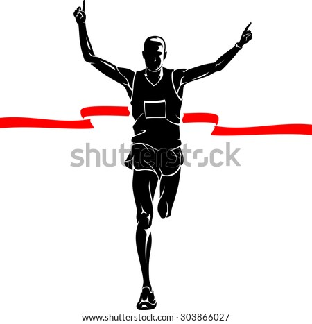 Marathon Winner Male Silhouette - stock vector