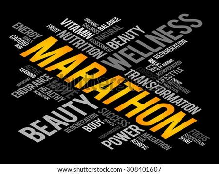 MARATHON word cloud, fitness, sport, health concept - stock vector