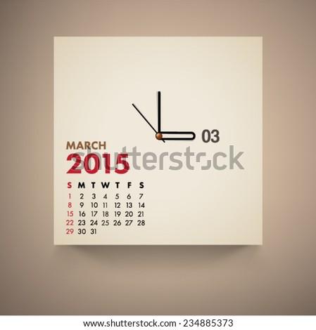 March 2015 Calendar Clock Design Vector  - stock vector