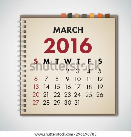 March 2016 Calendar Notebook Vector  - stock vector