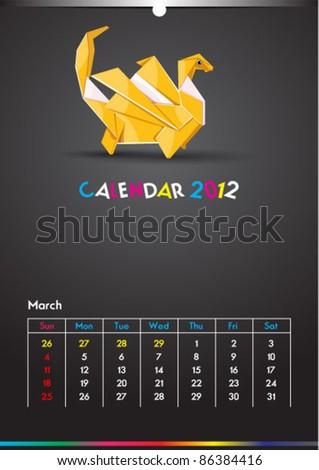 March 2012 Dragon Calendar Template - stock vector