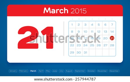 March 21, vector daily calendar, flat design, 2015 - stock vector