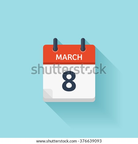 March 8. Vector flat daily calendar icon. Date and time, day, month. Holiday. - stock vector