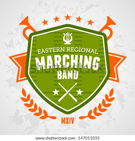 Marching band drum corp emblem logo badge design - stock vector