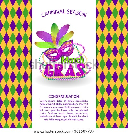 mardi gras bright vector carnival icons and sign. Mardi Gras carnival background - Masquerade masks and beads - stock vector