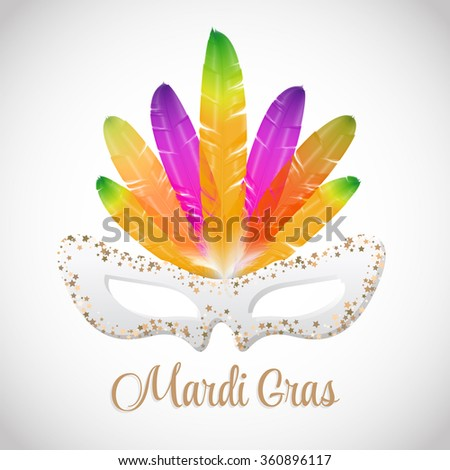 Mardi Gras vector mask with colorful feathers  isolated on white. - stock vector