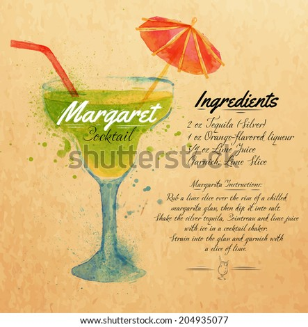 Margaret cocktails drawn watercolor blots and stains with a spray, including recipes and ingredients on the background of kraft - stock vector
