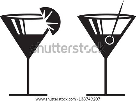 Margarita or Martini silhouettes with garnish  - stock vector