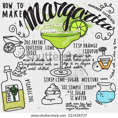 Margarita Recipe Typography Poster - How to make a margarita illustrated recipe card, with instructions and hand drawn ingredients, including tequila, orange liqueur and limes - stock vector