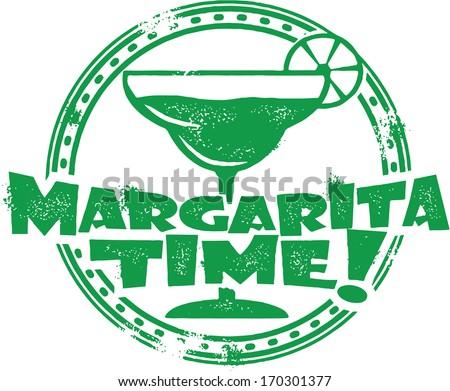 Margarita Time Cocktail Bar Menu Stamp - stock vector