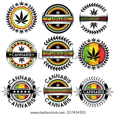 marijuana cannabis leaf jamaican style vector stickers - stock vector