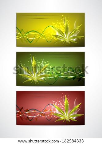 Marijuana card's set for your design, vector illustration, eps10, 5 layers.  - stock vector