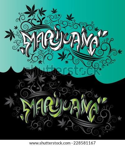 marijuana design graffiti style text vector - stock vector