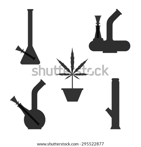 Marijuana equipment. Set of different bongs with cannabis plant in pot. Vector illustration on cranberry background. - stock vector