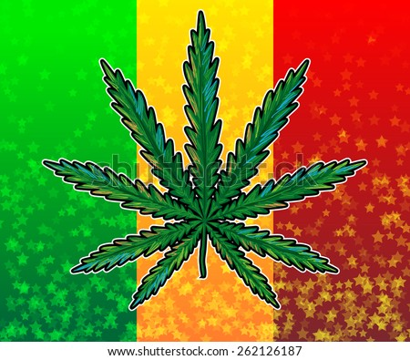 Marijuana. Hand-drawn ganja leaf on rasta colored flag background vector illustration - stock vector