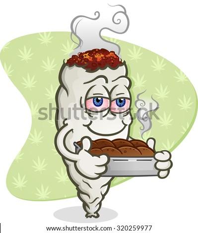 Marijuana Joint Cartoon Character with Pot Brownies - stock vector