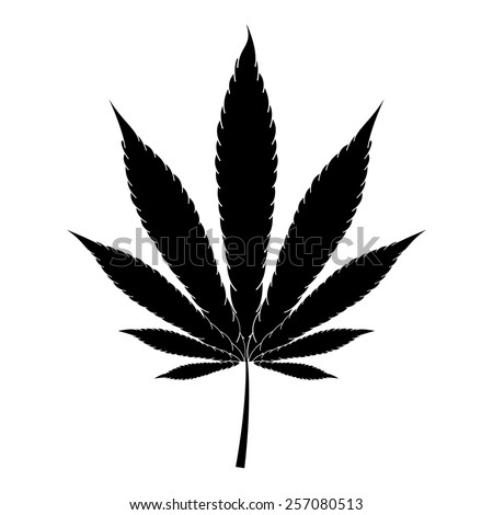Marijuana leaf vector icon - black illustration - stock vector