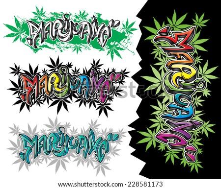 marijuana street graffiti style design text vector - stock vector