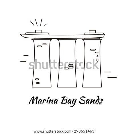 Marina Bay Sands building made in line style vector. Modern isolated design element for map, logotype, travel books and other types of design. Travel symbol on white background.  - stock vector
