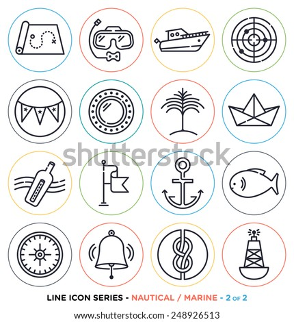 Marine and nautical line icons set. Vector collection of nautical symbols. - stock vector