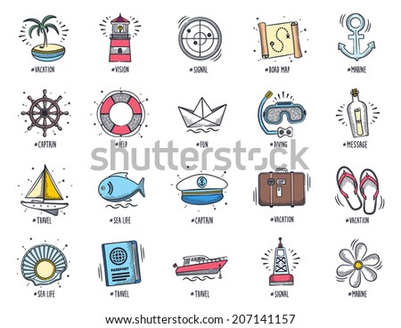 Marine and vacation icon set. Vector doodle illustrations. - stock vector