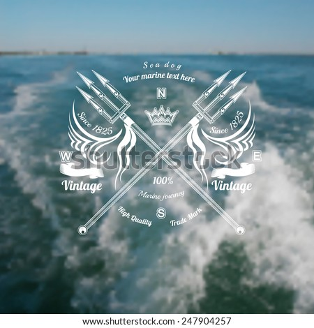 marine background with trident cross label on blue sea with foam from ship blur photo - stock vector
