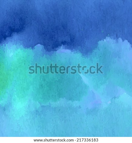 Marine blue and green waves watercolor background design. Illustration made in vector. - stock vector