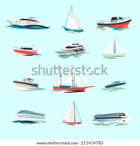 Marine boats cruise sea travel yacht motor vessels flat icons set with jet cutter abstract isolated vector illustration - stock vector