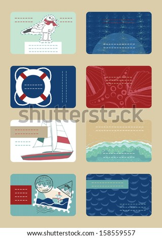 Marine Business Cards - stock vector