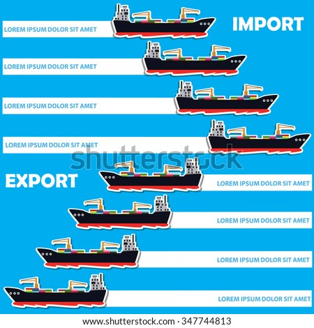 Marine cargo ship bound for export and import goods, add text to complete. Vector style - stock vector