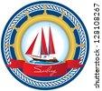 Marine emblem with a sailboat - stock vector