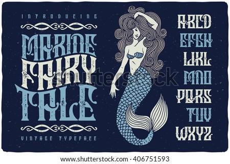 Marine fairytale font with beautiful mermaid illustration. Vintage decorative font set. - stock vector