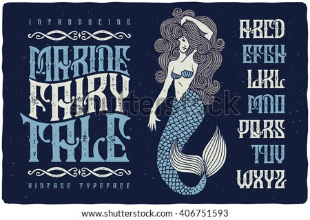 Marine fairytale font with beautiful mermaid illustration. Vintage decorative type set. - stock vector
