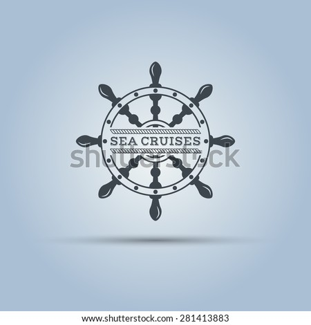marine helm wheel isolated vector label template  - stock vector